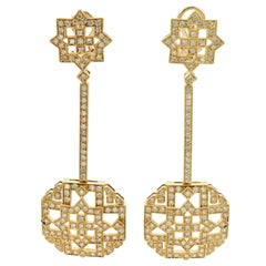 Diamond Yellow Gold Art Deco Style Dangle Earrings Made in Italy