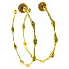 Diamond Yellow Gold Bamboo Hoop Earrings Signed SB
