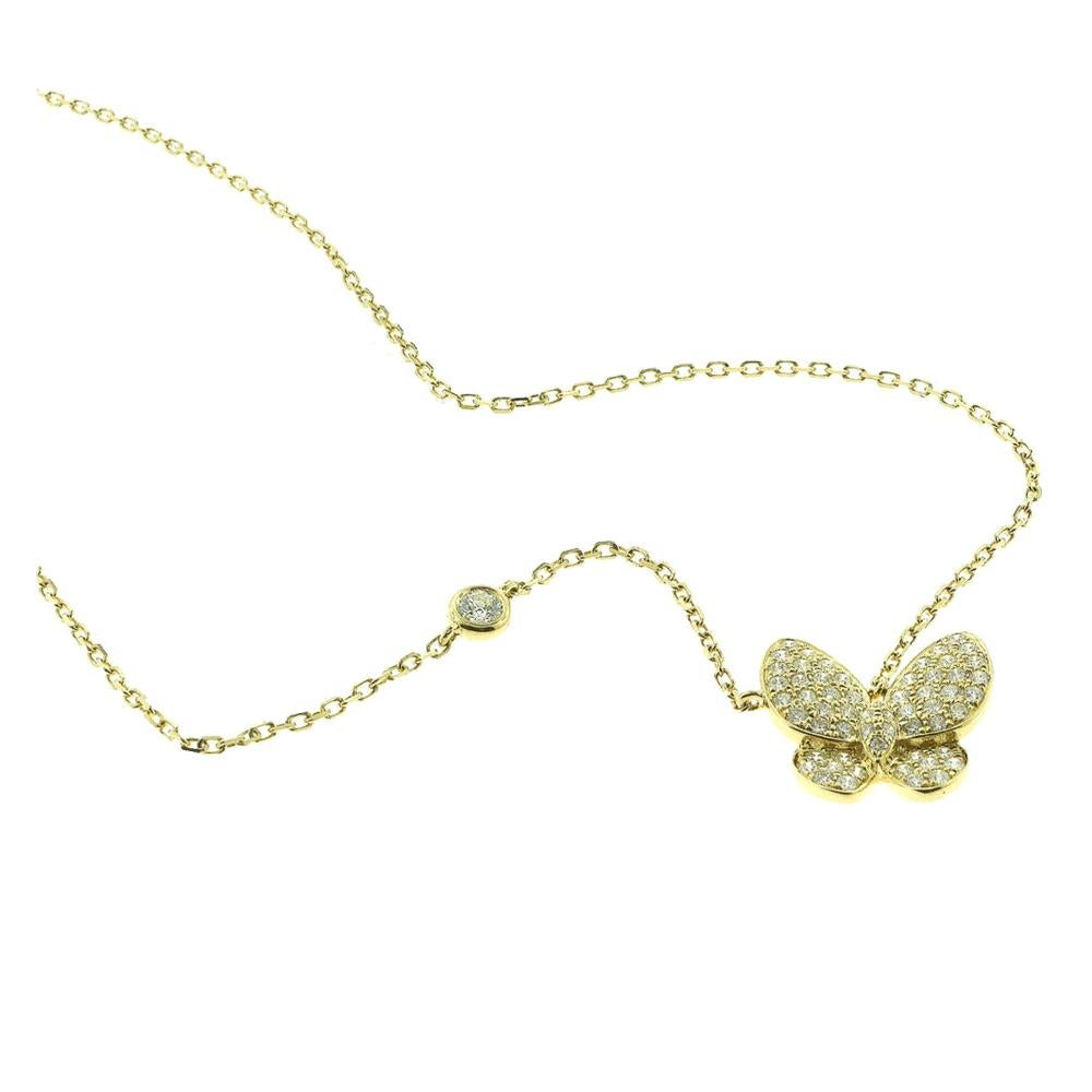 Diamond Yellow Gold Butterfly Necklace