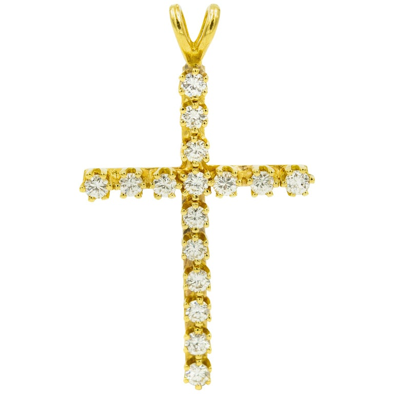Diamond Yellow Gold Cross Necklace Pendant For Sale