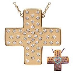 DIAMOND LOVE  Yellow Gold Cross Pendant Necklace