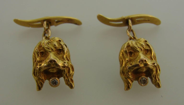 Women's or Men's Diamond Yellow Gold Dog Cufflinks For Sale