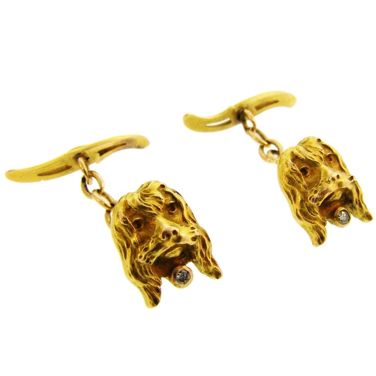 Diamond Yellow Gold Dog Cufflinks For Sale