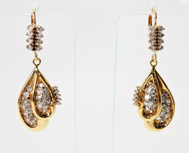 Diamond Yellow Gold Double Tear Drop Dangle Earrings In Good Condition For Sale In Mount Kisco, NY