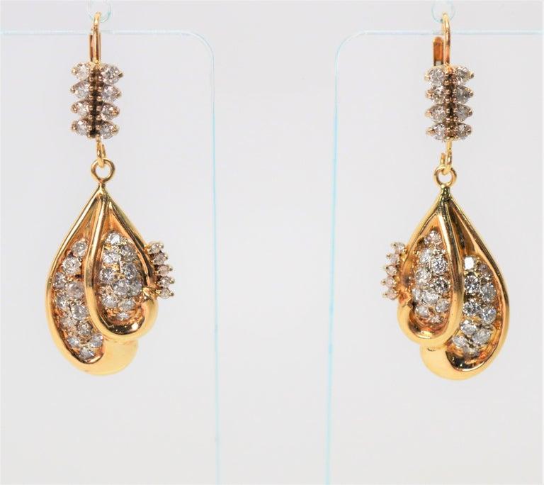 Women's Diamond Yellow Gold Double Tear Drop Dangle Earrings For Sale