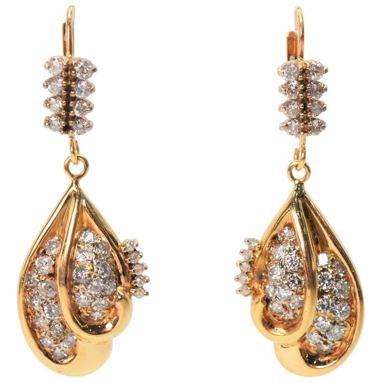 Diamond Yellow Gold Double Tear Drop Dangle Earrings For Sale