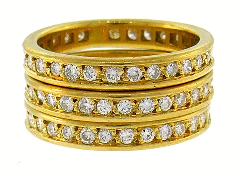 Diamond Yellow Gold Eternity Band Ring Trio, French 1970s 5