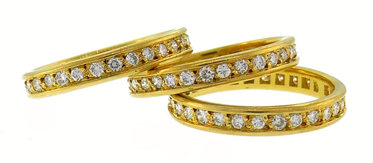 Round Cut Diamond Yellow Gold Eternity Band Ring Trio, French 1970s