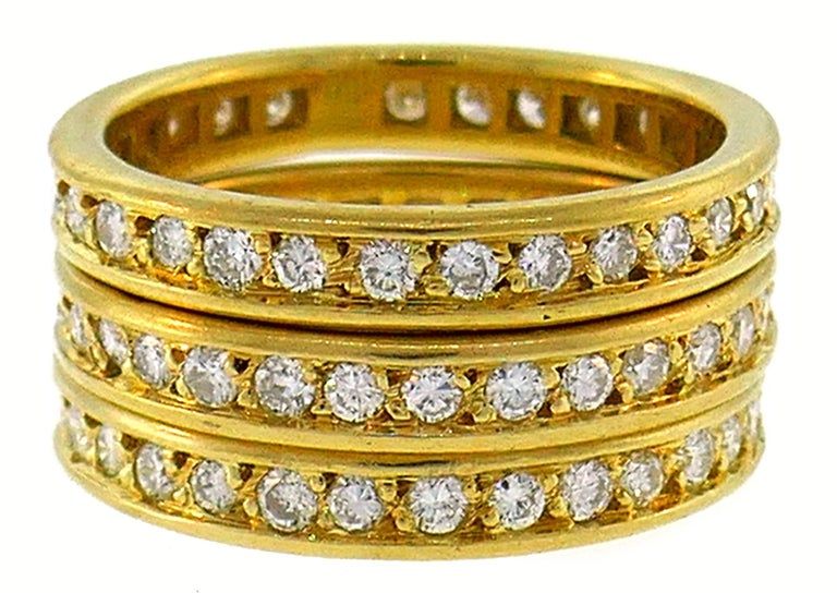 Diamond Yellow Gold Eternity Band Ring Trio, French 1970s In Good Condition In Beverly Hills, CA