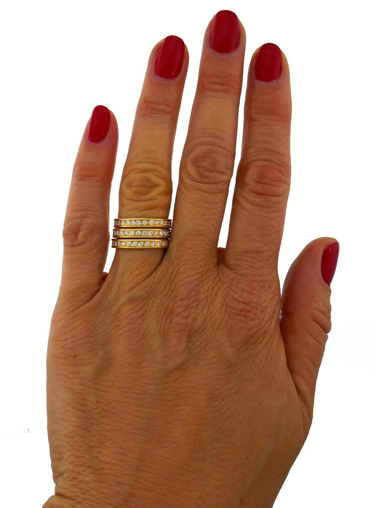 Diamond Yellow Gold Eternity Band Ring Trio, French 1970s 3