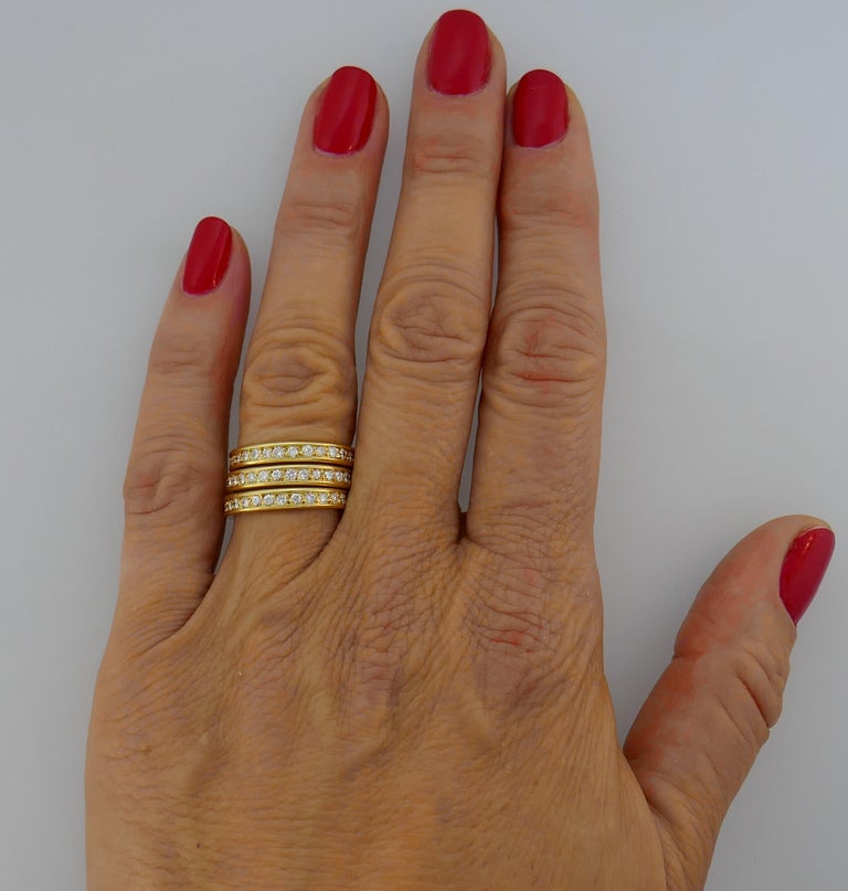 Diamond Yellow Gold Eternity Band Ring Trio, French 1970s 4