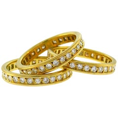 Diamond Yellow Gold Eternity Band Ring Trio, French 1970s