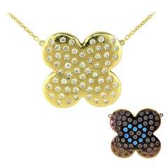 DIAMOND LOVE  Natural Diamond Yellow Gold Flower Pendant Necklace