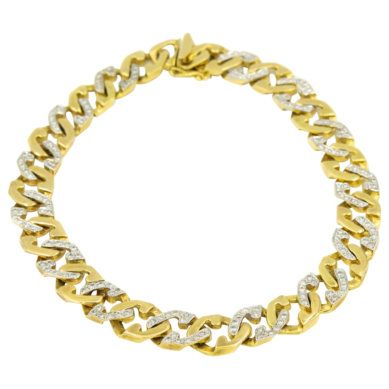 Diamond Yellow Gold Geometric Cuban Link Chain Collar Choker Necklace