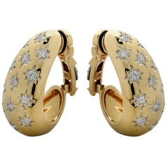 Diamond and Yellow Gold Half Hoop Ear Clips