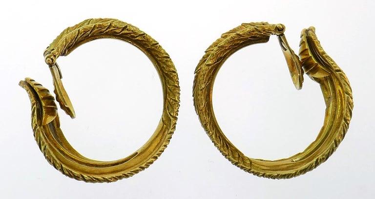 Women's Diamond Yellow Gold Hoop Earrings, 1980s For Sale
