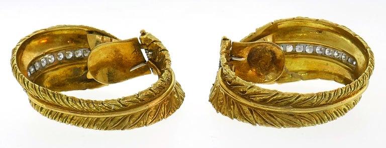 Diamond Yellow Gold Hoop Earrings, 1980s For Sale 1