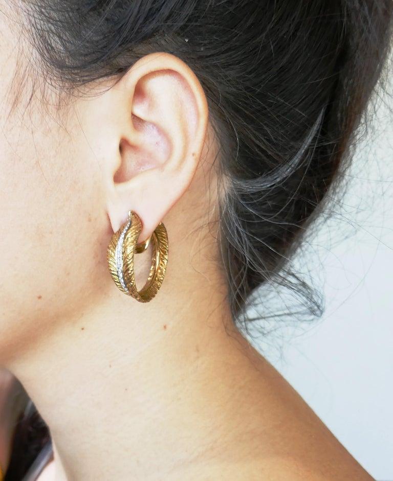 Diamond Yellow Gold Hoop Earrings, 1980s For Sale 3