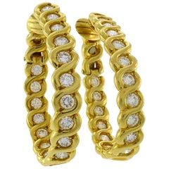 Diamond Yellow Gold Hoop Earrings, French, 1980s