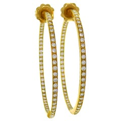 Jennifer Meyer Diamond Yellow Gold Hoop Earrings Large