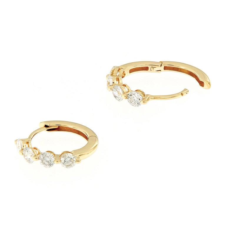 Round Cut Diamond Yellow Gold Huggy Hoop Earrings For Sale