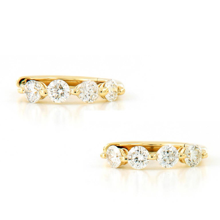 Diamond Yellow Gold Huggy Hoop Earrings In New Condition For Sale In Troy, MI
