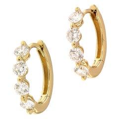 Diamond Yellow Gold Huggy Hoop Earrings