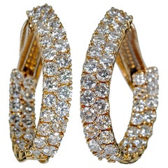 Diamond Yellow Gold Inside Out Ovals Earrings