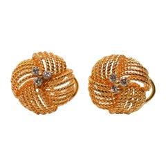 Diamond Yellow Gold Knot Stud Earrings