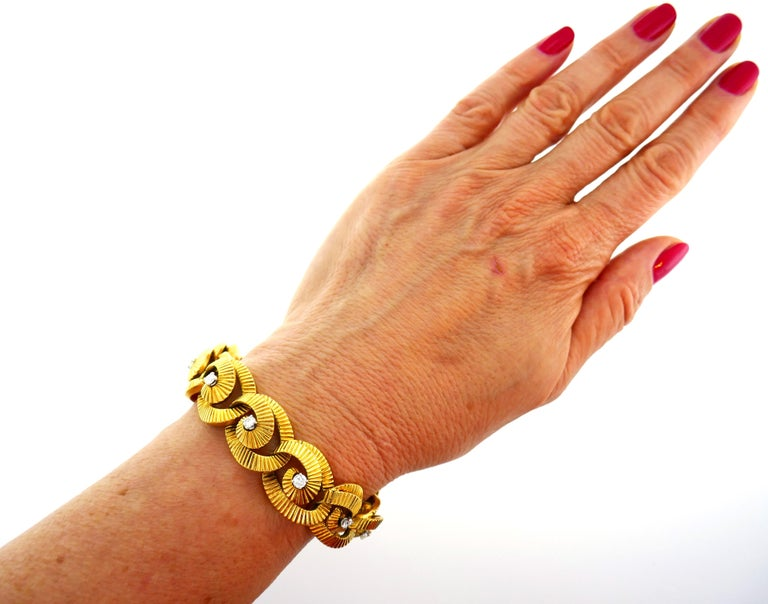 Diamond Yellow Gold Link Bracelet by Regner, French In Good Condition For Sale In Beverly Hills, CA