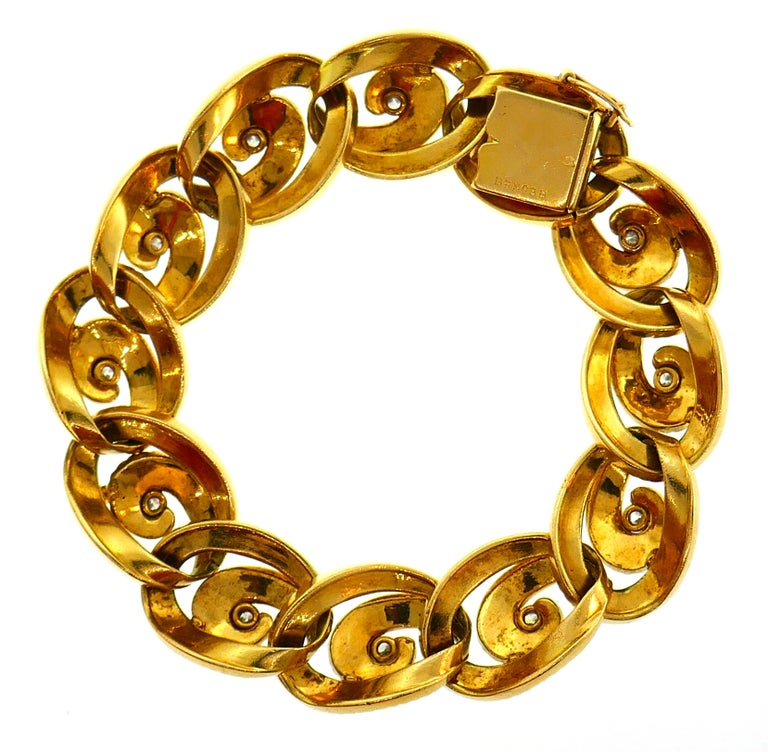 Diamond Yellow Gold Link Bracelet by Regner, French For Sale 1