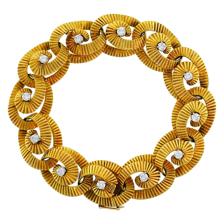 Diamond Yellow Gold Link Bracelet by Regner, French For Sale