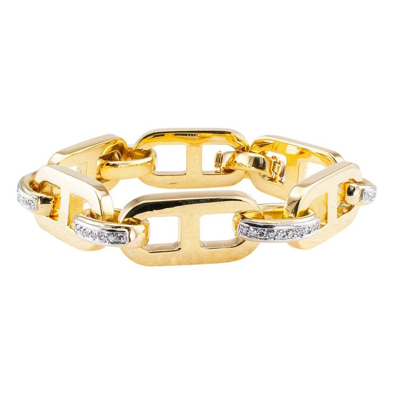 Modern Diamond Yellow Gold Link Bracelet For Sale