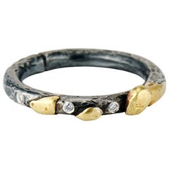 Diamond, Yellow Gold, Oxidized Sterling Silver, Mixed Metal Stacking Band Ring