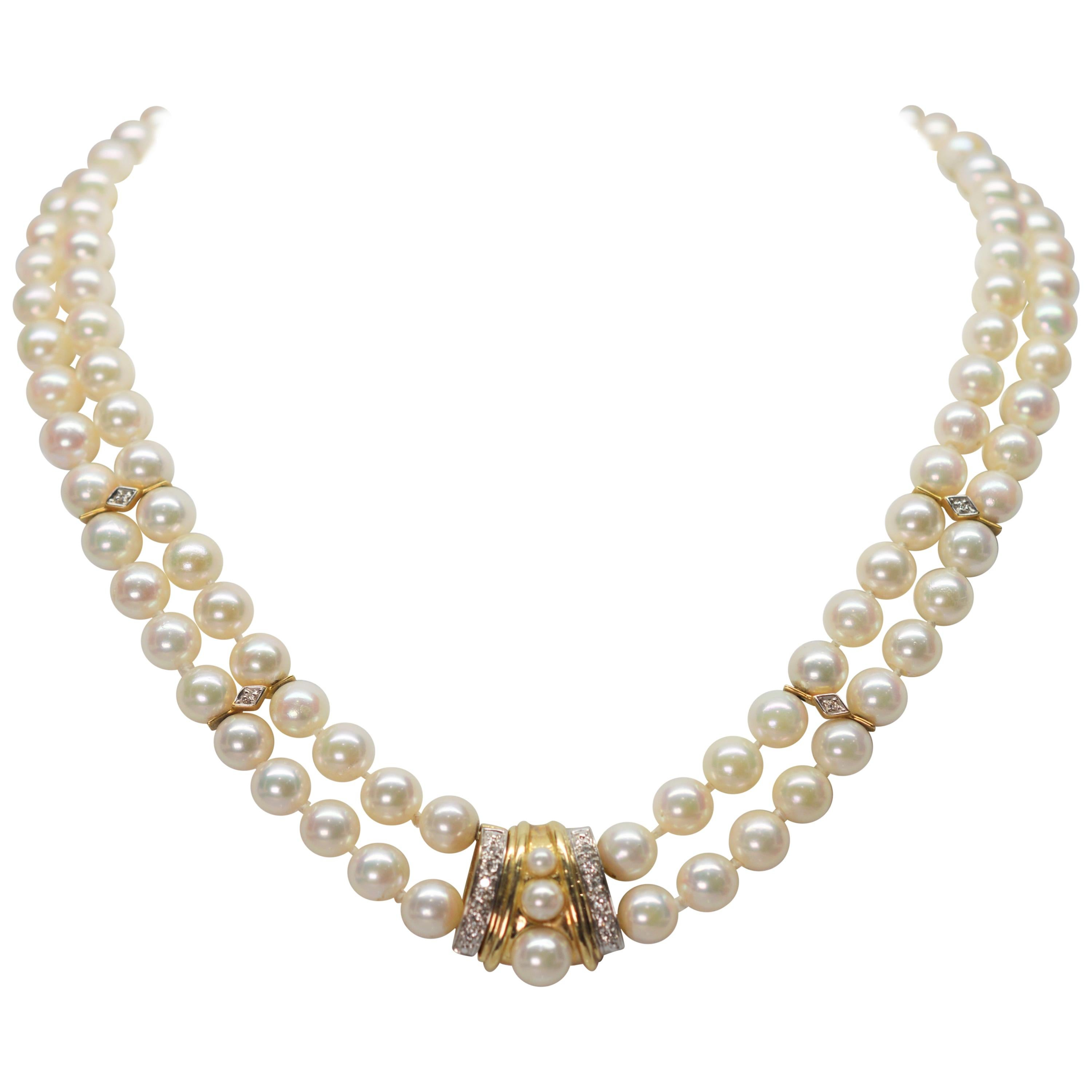 Diamond Yellow Gold Pendant Double Strand Pearl Necklace