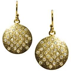 Diamond Yellow Gold-Plated Drop Dangle Earrings Love Heart DIAMONDS in the SKY