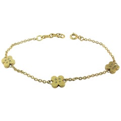 Diamond Yellow Gold Plate 3 Flowers Bracelet Diamonds in the Sky Bellessort