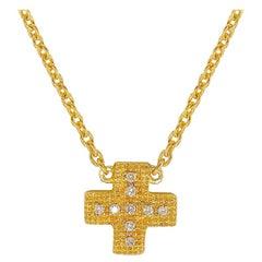 Diamond Yellow Gold Plate Pendant Necklace ' DIAMOND in the SKY ' Cross