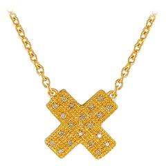 Diamond Yellow Gold Plate Large Kiss Pendant ' DIAMONDS in the SKY '