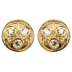 Diamond Yellow Gold-Plated Ear Studs Earrings Diamonds in the Sky