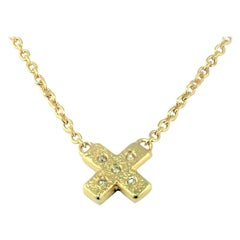 Diamond Yellow Gold-Plated Kiss Pendant Necklace, DIAMONDS in the SKY Collection