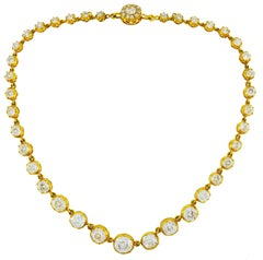 Diamond Yellow Gold Riviere Necklace Victorian