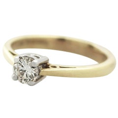 Diamond Yellow Gold Solitaire Engagement Ring, Vintage, 1994