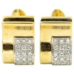 Diamond Yellow Gold Stylized Rectangular Cufflinks