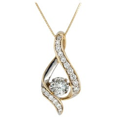 Diamond Yellow Gold Teardrop Shaped Slide Pendant Necklace
