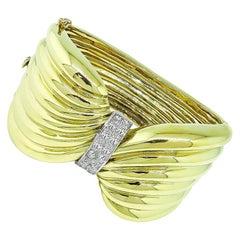 Diamond Yellow Gold Twist Bangle