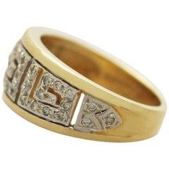 Diamond Yellow Gold White Gold Set Cocktail Ring