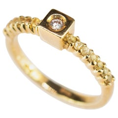 Diamond Yellow Sapphire 18 Karat Yellow Gold Square Box Bridal Solitaire Ring