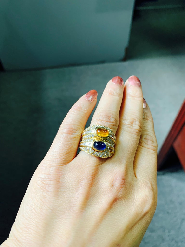Diamond, Yellow Sapphire and Blue Sapphire Twin Ring in Yellow Gold For Sale 6