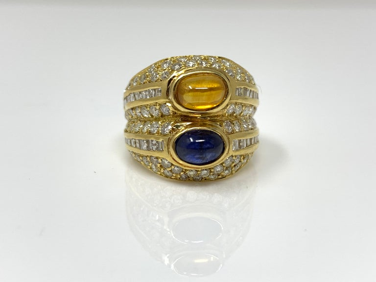 Diamond, Yellow Sapphire and Blue Sapphire Twin Ring in Yellow Gold In Excellent Condition For Sale In New York, NY